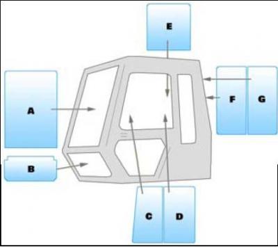 Geam utilaj/ Parbriz utilaj JCB JS110 - 130- 150 - 200 - 240 - 300 - 450LC