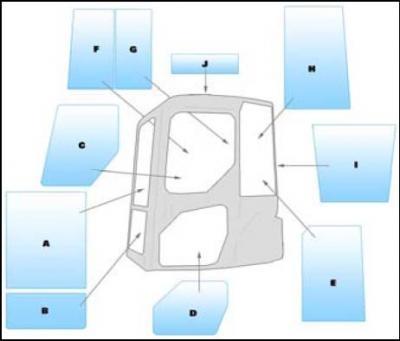 Geam utilaj / Parbriz utilaj Komatsu PC20MR - PC27MR - PC30MR - PC50MR-2