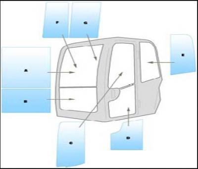Machine glass / windshield Equipment Kubota KX800-3