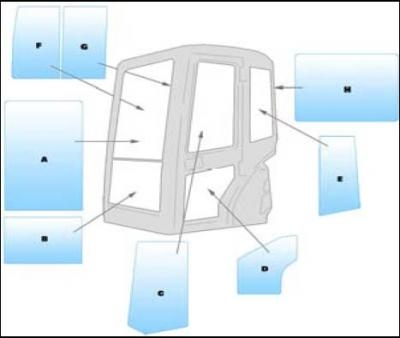Equipment window / windscreen equipment Kubota U20-3 - U25-3 mini excavator
