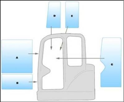 Geam utilaj/ Parbriz utilaj SMC MX30 - 35 - 50 MINI EXCAVATOR