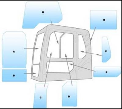 Geam utilaj/ Parbriz Utilaj Volvo EC140 - 210 - 240 - 280