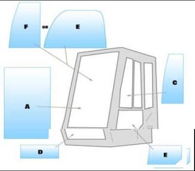 Geam utilaj Case / Parbriz utilaj Case 588B-688B-788B-888B-988B-1088B-1288B-1488B