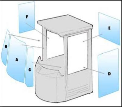 Geam utilaj Case / Parbriz utilaj Case 621C- 721C - 821C - 921C