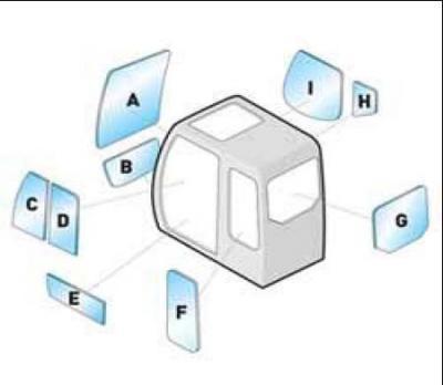 Geam utilaj Case / Parbriz utilaj Case CX160 - 180 - 210 - 240 - 290 B