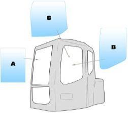 Geam utilaj Case / Parbriz utilaj Case CX75 - CX80 - CX135 - 225SR