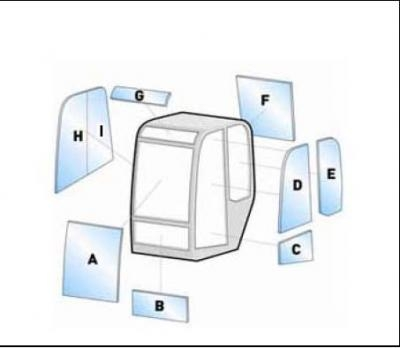 Geam utilaj Case / Parbriz utilaj Case MAXI (CX) 23-28-31-35-50