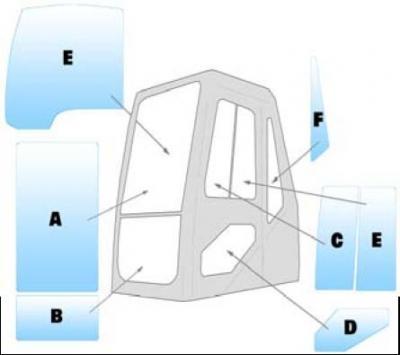 Geam utilaj Daewoo / Parbriz utilaj Daewoo S140LC-V, S140W-V, S175LC-V, S180W-V, S210W-V, S225LC-V, S225LL, S225NLC-V S255LC-V, S300LC-V, S340LC-V, S420LC-V, S470LC-V, S500Lc