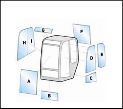 Equipment Fermec glass / windshield 115 -116 Equipment Fermec