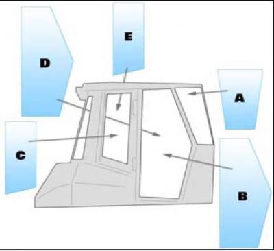 Geam utilaj Fiat Hitachi / Parbriz utilaj Fiat Hitachi D150DSD - D150LGP - D180