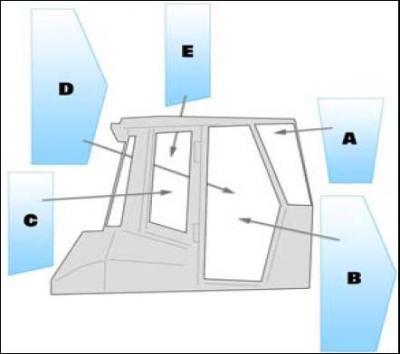 Geam utilaj Fiat Kobelco / Parbriz utilaj Fiat Kobelco D150 - D180 (4-00 - 4-03)