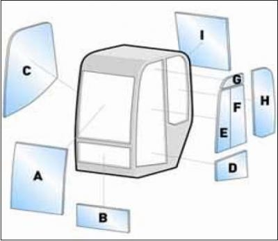 Geam utilaj Hitachi / Parbriz utilaj Hitachi ZAXIS ZX70US-3    - ZX80US-3   -  ZX135US-3 - ZX225US-3