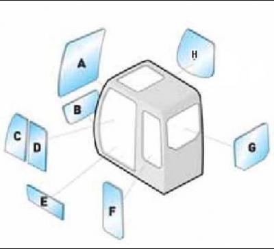 Geam utilaj Hitachi / Parbriz utilaj Hitachi  ZX470-3 - ZX570-3 - ZX670-3 - ZX870-3