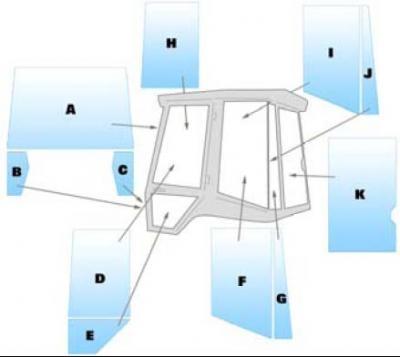 Geam utilaj JCB/ Parbriz utilaj JCB 2CX AIRMASTER (BONDED GLASS VERSION)