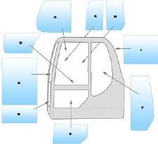 Geam utilaj / Parbriz utilaj Komatsu PC75R - 95R -PC110R SERIES 2 EXCAVATOR